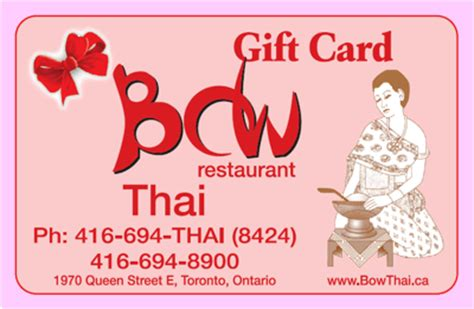 Restaurant Gift Cards Toronto - gift card for any value is available at bow thai restaurant in the beach toronto