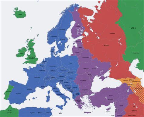 zeitzonenkarte europa ueberblick ueber die zeitzonen  europa