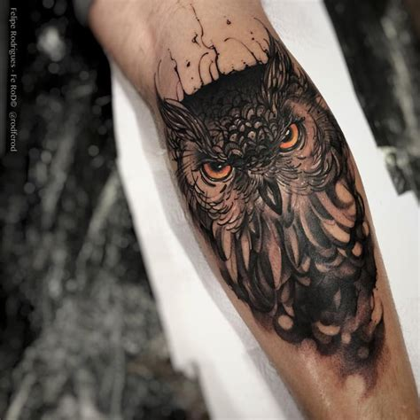 owl forearm tattoo owl with piercing best ideas designs
