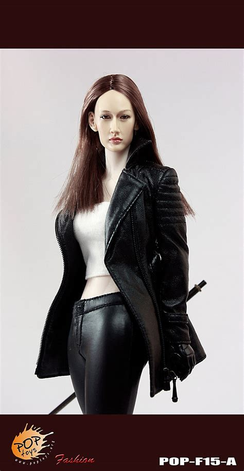 pop toys nikita female agents leather coat suit