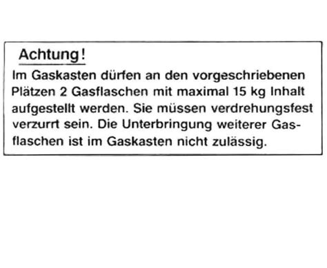 Aufkleber Alarmanlage Wohnmobil by Aufkleber Ordnungsgem 228 223 E Unterbringung Der Gasflaschen