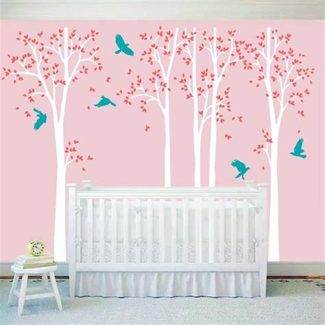 Five Huge White Tree Wall Decal Vinyl Stickers Birds Bird Wall Decals For Nursery