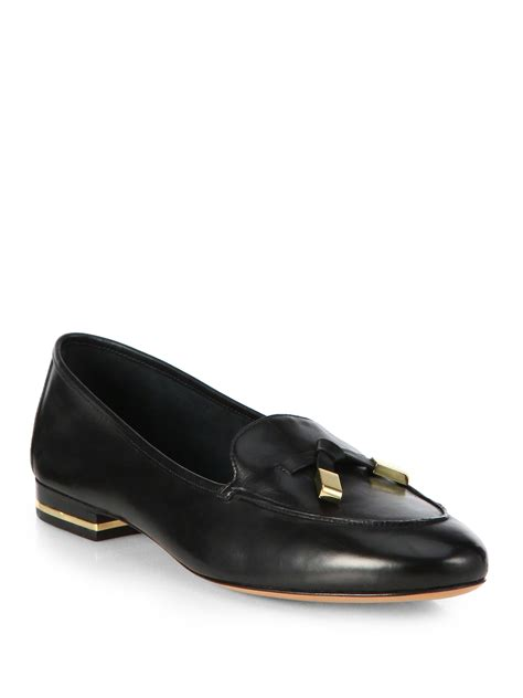 michael kors black loafers michael kors jemma leather loafers in black lyst