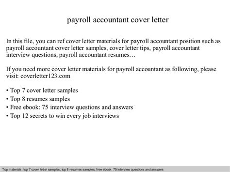 Payroll Accountant Cover Letter by Payroll Accountant Cover Letter