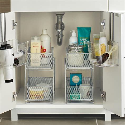organize bathroom cabinet sink silver 2 drawer mesh organizer the container store
