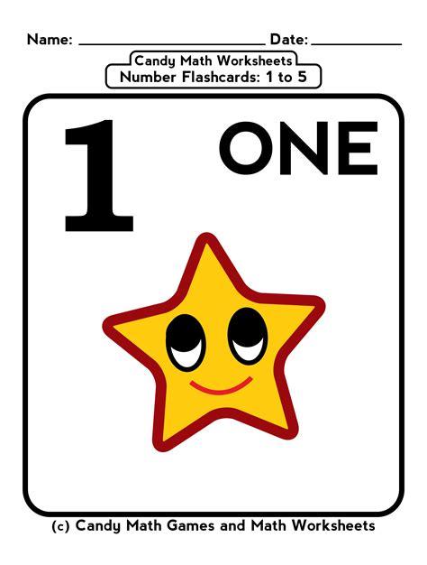 printable number flashcards 1 5 kindergarten math worksheets penny candy math worksheets
