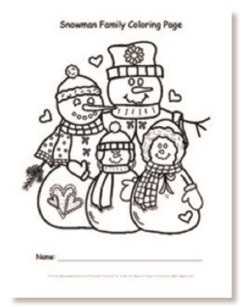 coloring page snowman family teacher s printables snowman family coloring page