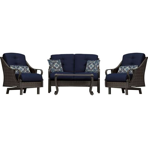 Navy Blue Patio Furniture Ventura 4 Seating Set In Navy Blue Ventura4pc Nvy