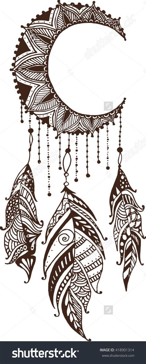dream catcher doodle stock vector hand drawn moon mandala dreamcatcher with