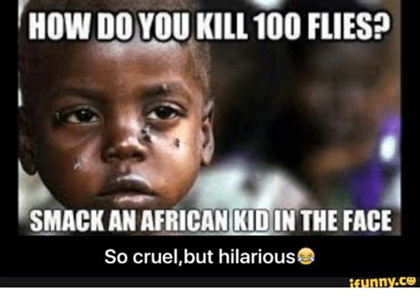 Cruel Meme - how doyou kill 100 flies smack an african kidin the face