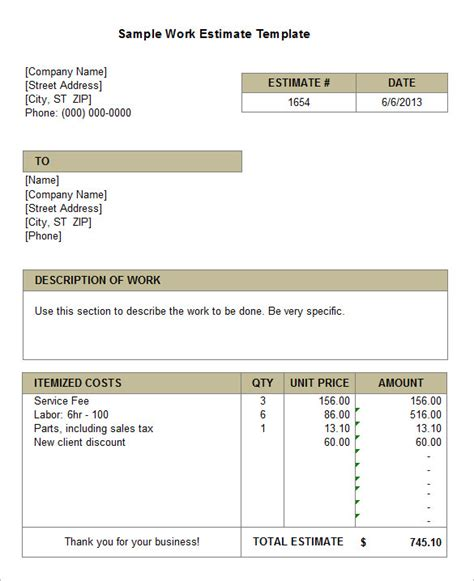work estimate template 6 work estimate templates free word excel formats