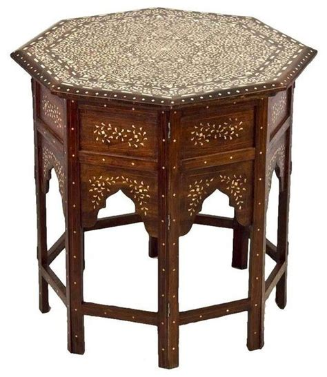 Moroccan Side Table Pre Owned Moroccan Bone Inlay Side Table Mediterranean