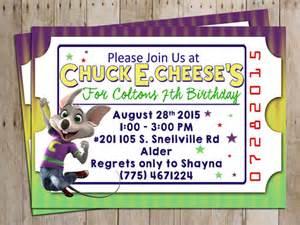 chuck e cheese birthday party invitation for chuck e cheese