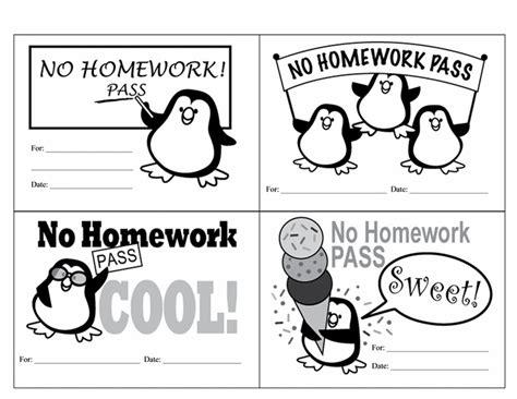 homework pass free printable homework passes for the classroom