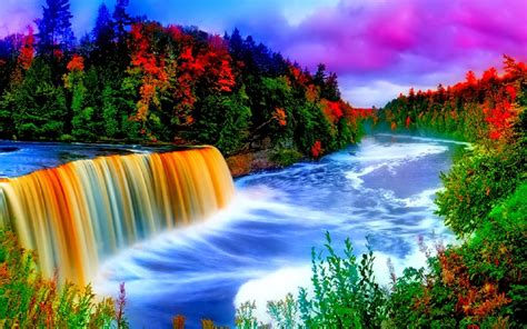 colorful waterfall background  wallpaperscom