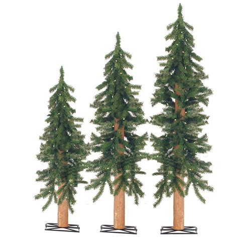 artificial christmas tree 3 pcs sets sterling 2 ft 3 ft and 4 ft pre lit alpine artificial tree with wooden trunk set