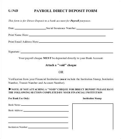direct deposit forms for employees template direct deposit form template 9 free pdf documents