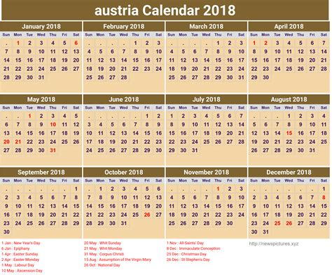 Austria Calend 2018 Free Austria Calendar 2018 2018 Calendar Printable For