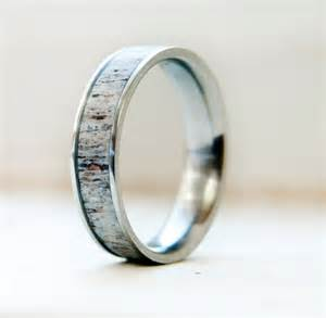 Mens Wedding Band w/ Antler Inlay Wedding Ring Staghead