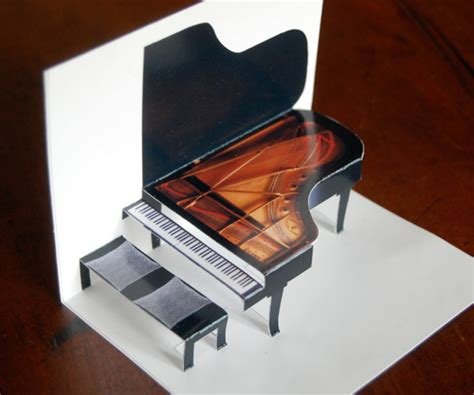 grand piano printable pop up card is easy to make