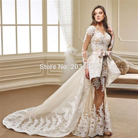 Brautkleid 2 In 1 by New Year 2017 Detachable Wedding Dress 2 In 1 Lace