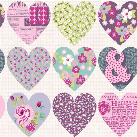 Patchwork Hearts - patchwork by arthouse purple wallpaper direct