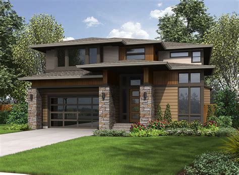 contemporary prairie style house plans architectural designs