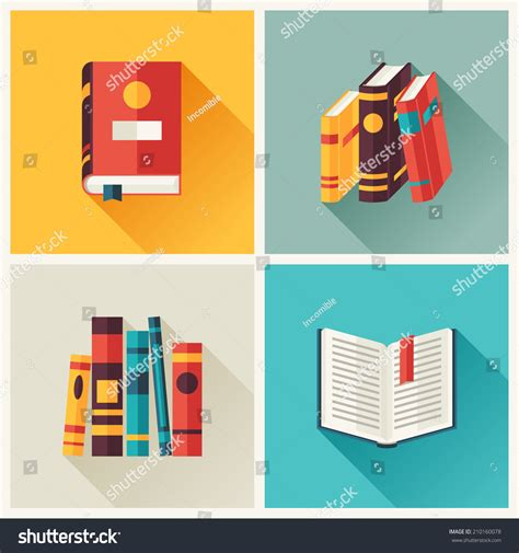 vector layout book set of book icons in flat design style stock vector