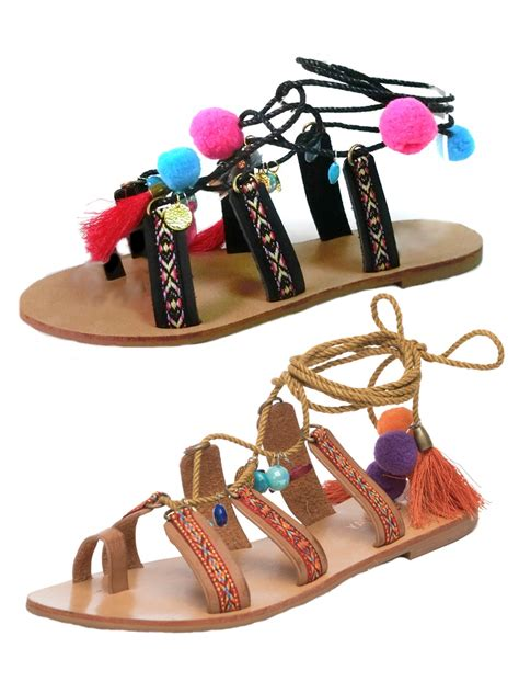 pom pom sandals womens pom pom lace up sandals flat strappy tassel summer