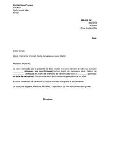 Demande Acte De Naissance Lettre Modèle Exemple Gratuit De Lettre Demande Extrait Acte Naissance Sans Filiation