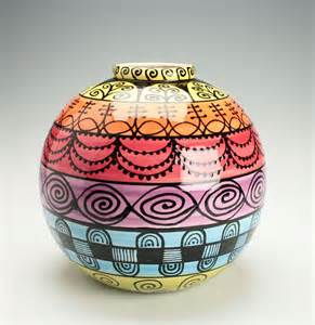 Painting On Glass Vases Large Ball Orb Vase Hand Painted Banded Bright Colors And