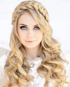 11 blonde braided halo hairstyle for long curly hair