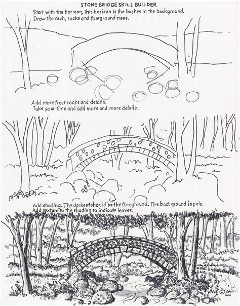 printable bridge instructions how to draw worksheets for the young artist how to draw