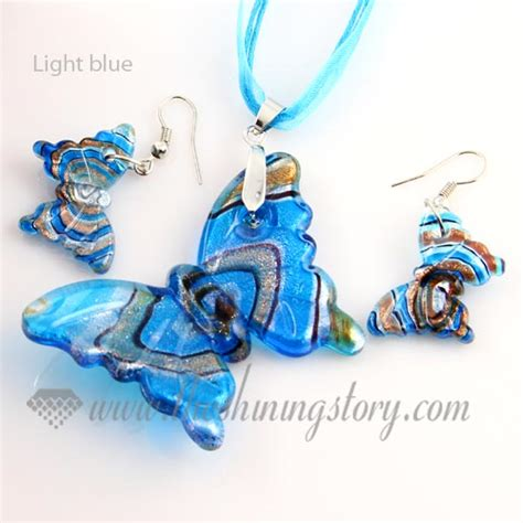 Butterfly Silver Charm With Light Blue Murano Glass P 6 butterfly foil venetian murano glass pendants and earrings jewelry wholesale