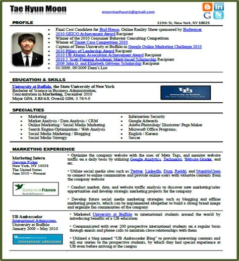 Resume Format Media Jobs by New Resume Format In The Social Media Era Tae Hyun Moon