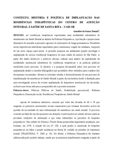Contexto, Histria e Poltica de Implantao Das Residncias