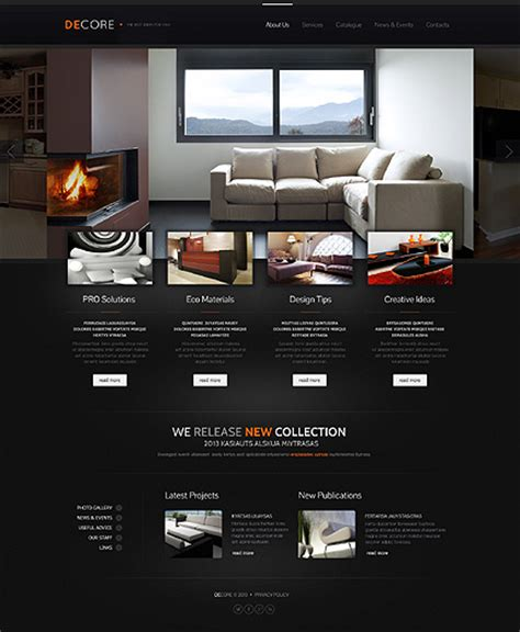 Professional Interior Furniture Website Templates Entheos Interior Website Templates