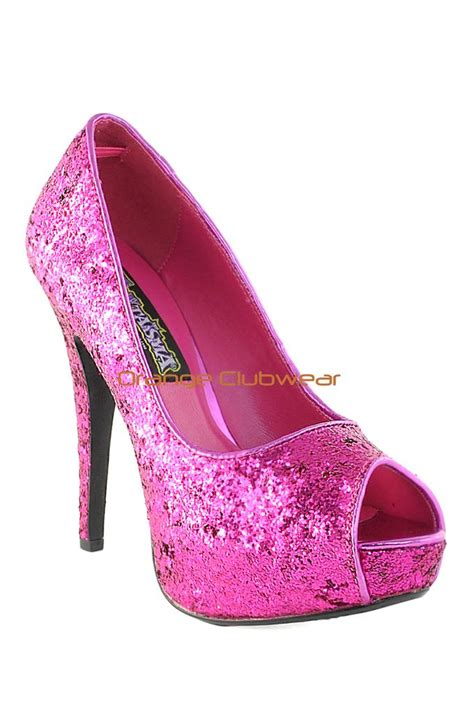 glitter pink high heels pleaser pink glitter peep toe stiletto high heel