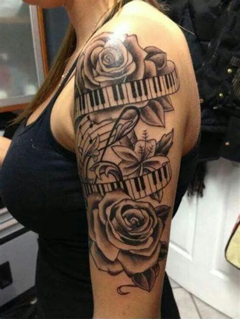 music note and rose tattoo 25 best ideas about piano tattoos on