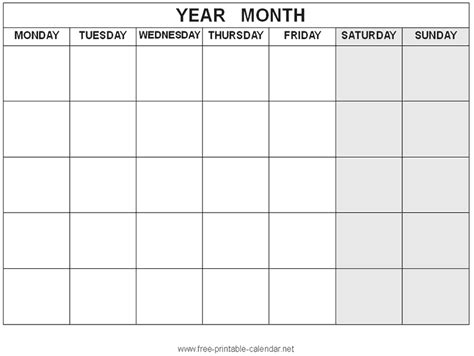 printable calendar without weekends free printable calendar