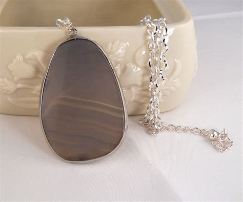 grey agate slab pendant necklace silver circle chain