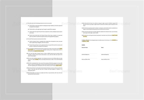 personal trainer contract templates personal trainer contract template in word apple pages