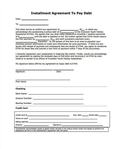 sle installment agreement installment payment agreement template 28 images 9