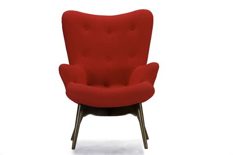 Red Modern Armchair Baxton Studio Solaris Linen Contemporary Armchair