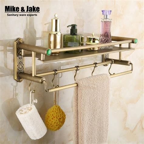 Bathroom Shelves With Hooks Bathroom Antique Brass Bathroom Shelf With Green Towel Holder Bathroom Shelf With Hooks
