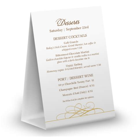 menu tent card template dessert cake table tent menu table tent