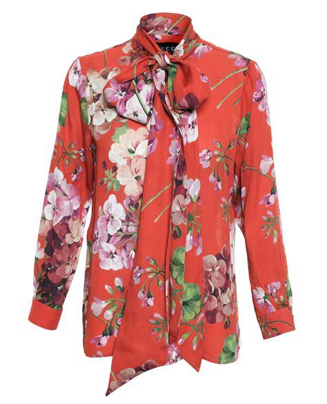 Blouse Merk Jucci 2 gucci floral print silk blouse in black lyst