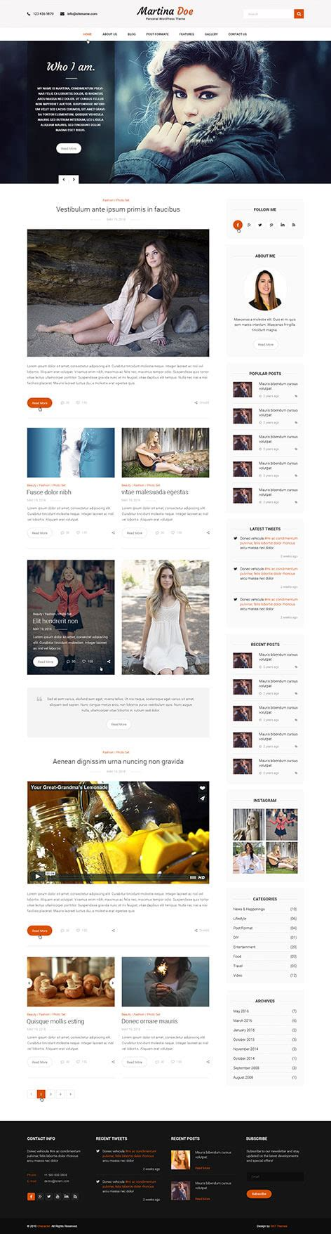 personal wordpress theme for responsive personal sites