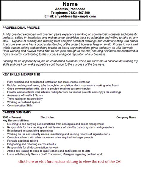 Licensed Electrician Resume Sles electrician resumes sles 28 images doc 700990