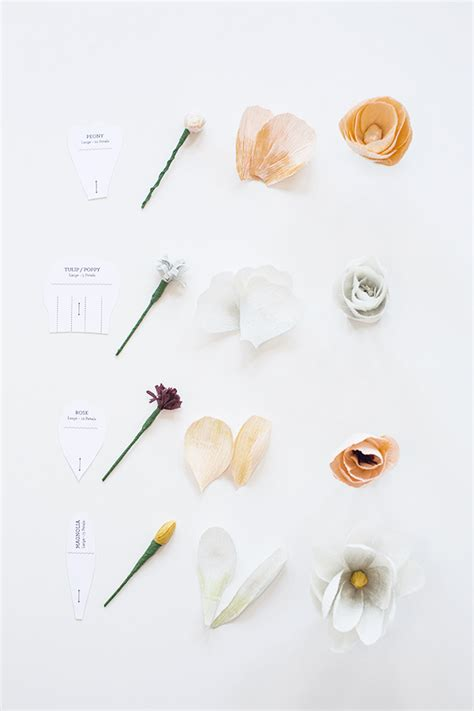 diy crepe paper flowers with free template printable